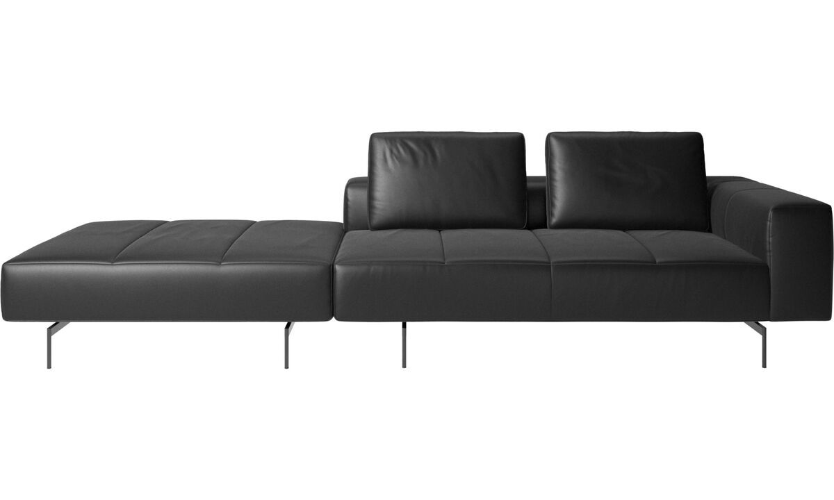 Modular sofas - Amsterdam sofa with footstool on left side - Black - Leather