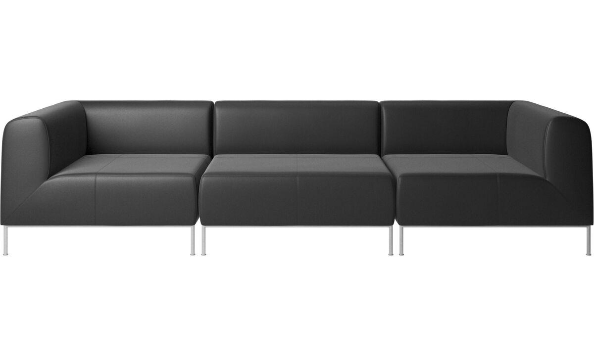 Trojsedačky - sedačka Miami - Čierna - Koža