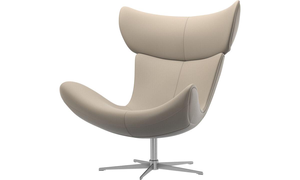 Fotele - Fotel Imola na obrotowej nodze - Beżowy - Skóra