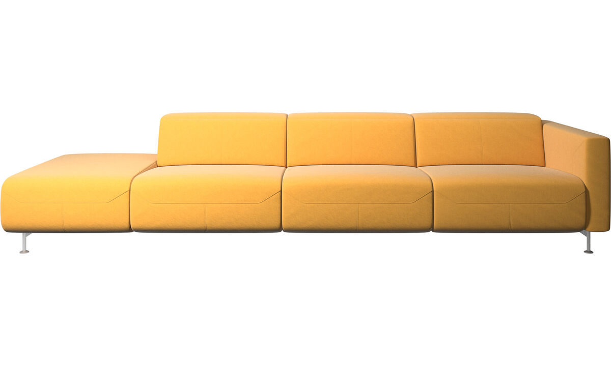 Recliner sofas - Parma reclining sofa with open end - Yellow - Fabric