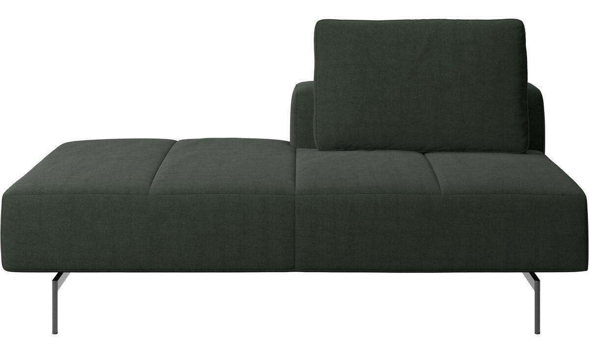 Sofás modulares - Módulo lounge para sofá Amsterdam, respaldar derecho, lado izquierdo abierto - En verde - Tela