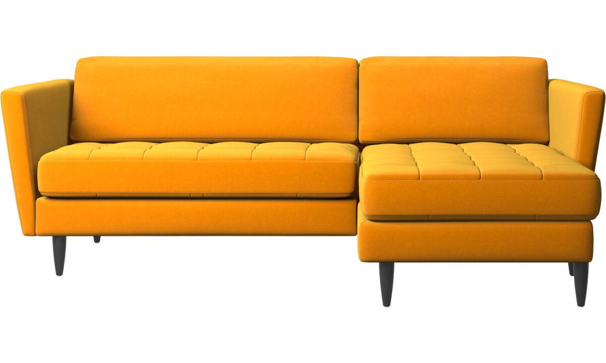 sofá Osaka con módulo chaise-longue, asiento capitoné - Naranja - Tela