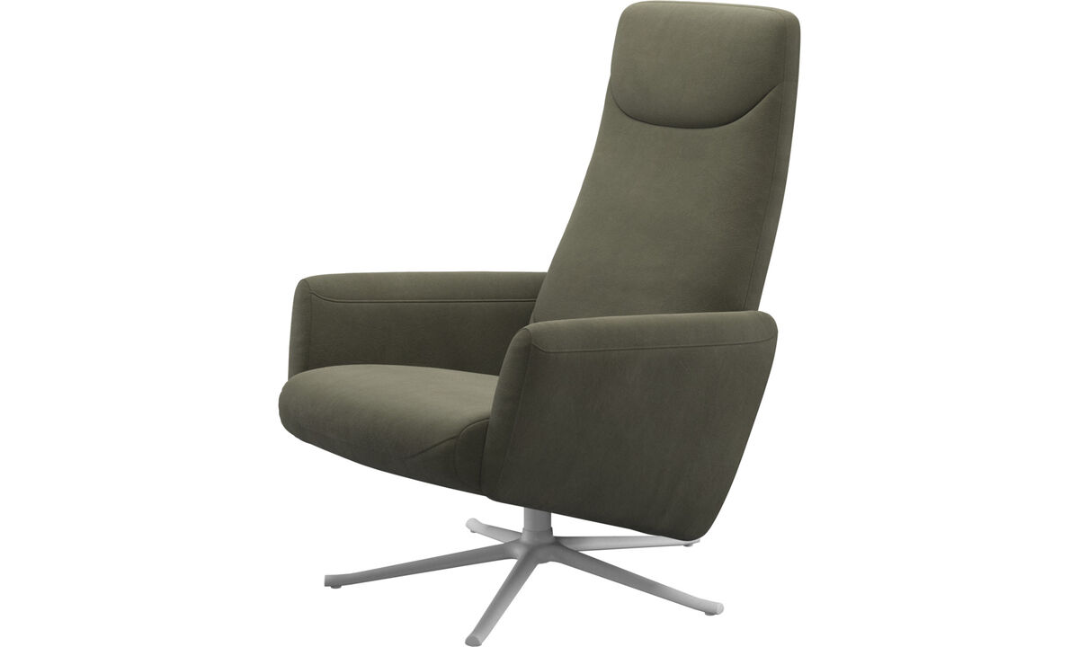 Recliners - Lucca recliner with swivel function - Green - Leather