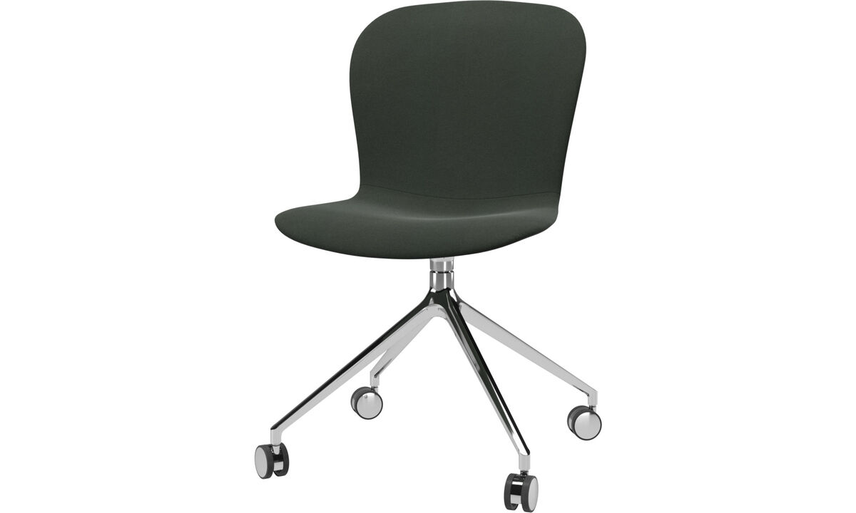 Dining Chairs Singapore - Adelaide chair with swivel function and wheels - Green - Fabric