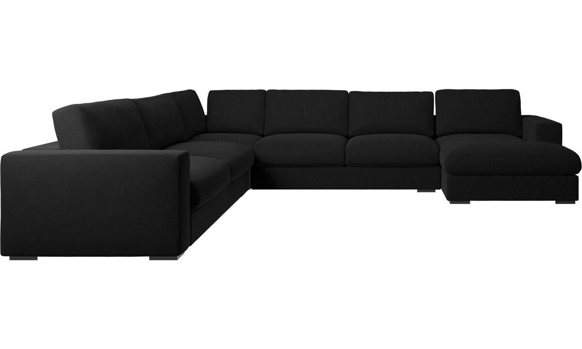 Corner sofas - Cenova corner sofa with resting unit - Black - Fabric