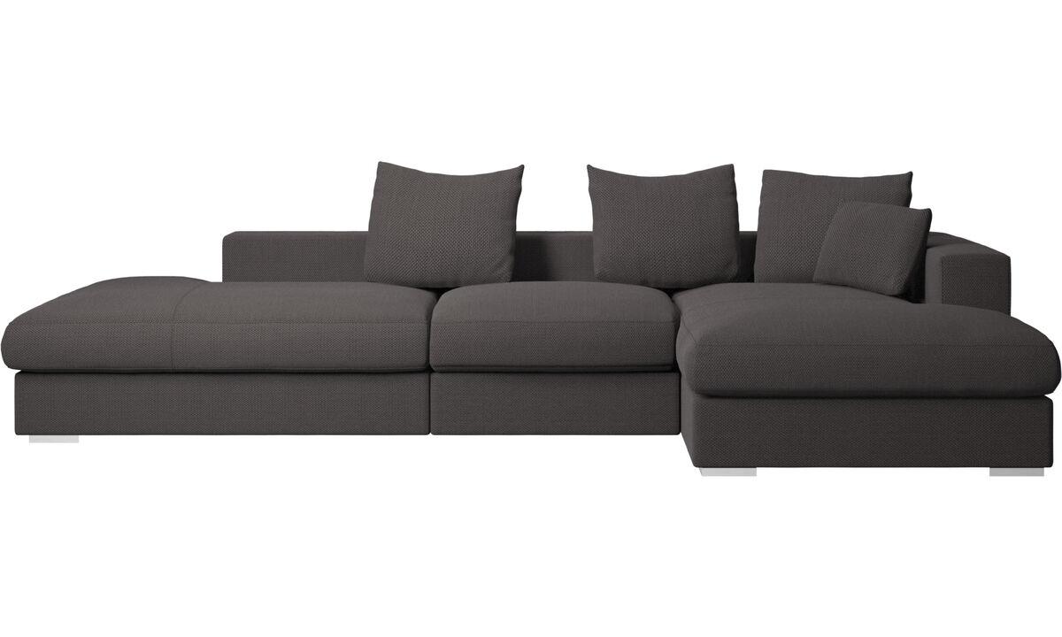 Lounge Sofas - Cenova Sofa mit Lounge- und Ruhemodul - Braun - Stoff