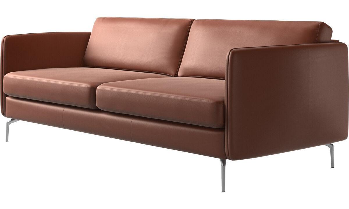 2.5人座沙發 - Osaka 沙發 平面款坐墊 - 褐色 - 皮革