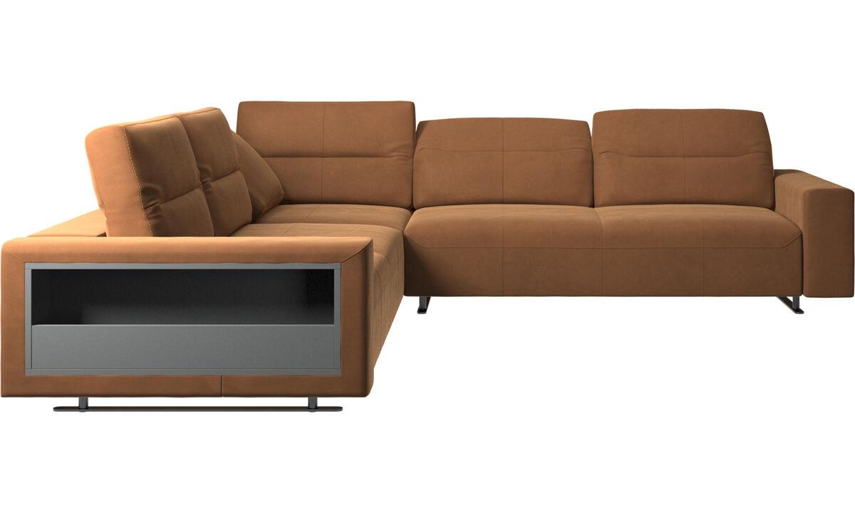 Sofás esquineros - Sofá esquinero Hampton con respaldo ajustable y almacenamiento - En marrón - Piel