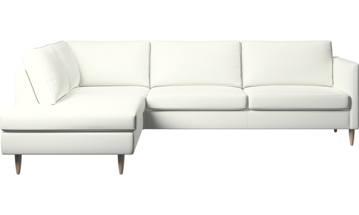 Sofas with open end - Indivi corner sofa with lounging unit - White - Leather