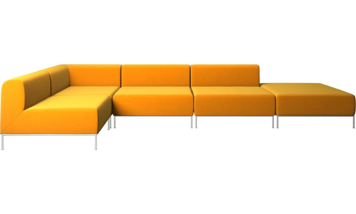 Sofás modulares - Sofá esquinero Miami con puf en lado derecho - Naranja - Tela