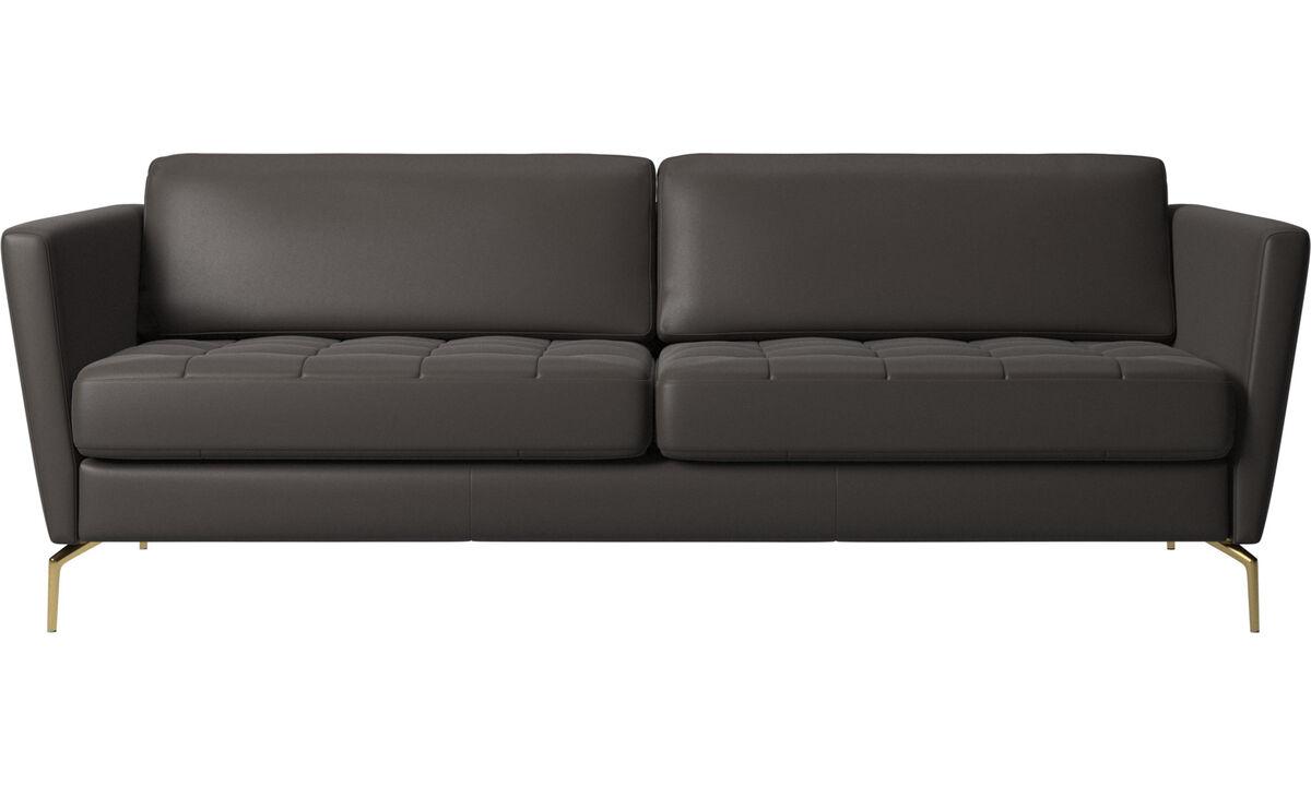 2.5 seater sofas - Osaka sofa, tufted seat - Brown - Leather