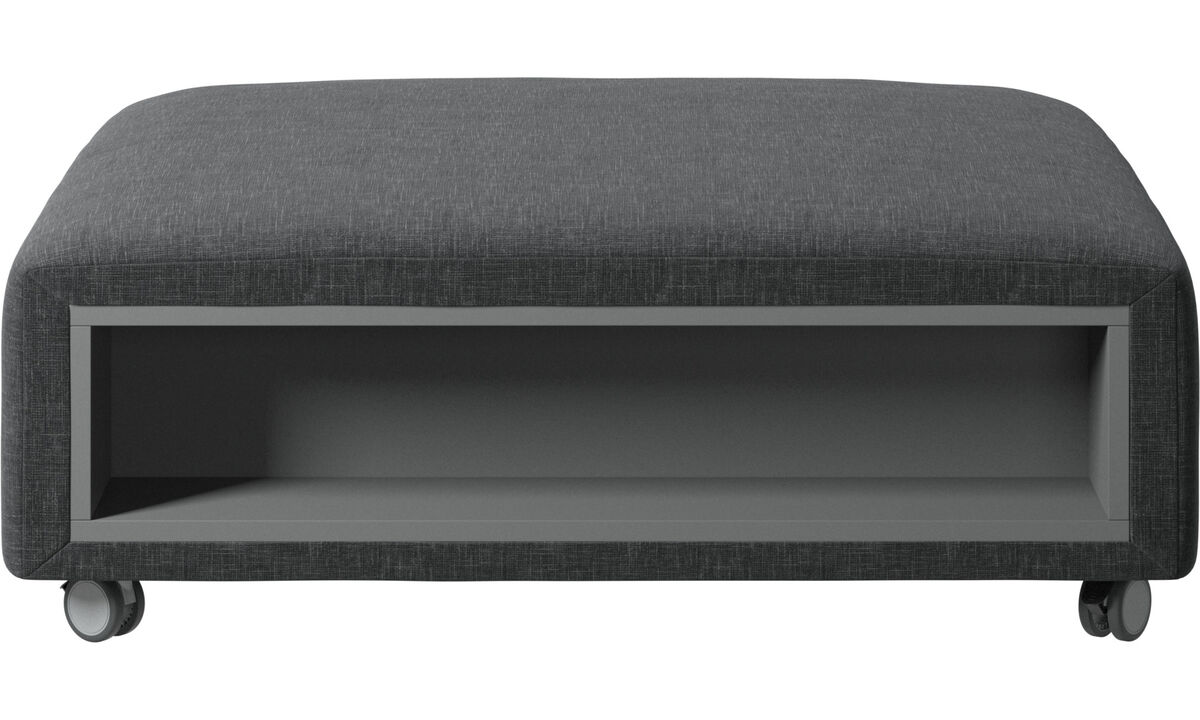 Footstools - Hampton footstool on wheels with storage left and right sides - Grey - Fabric