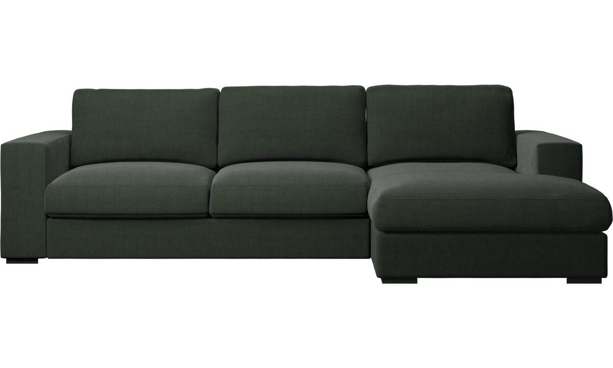 Sofás con chaise longue - Sofá Cenova con módulo chaise-longue - En verde - Tela