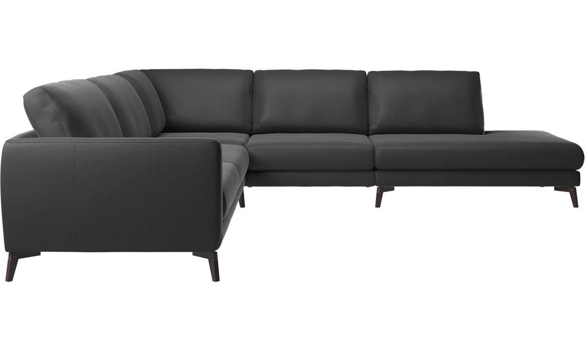 New designs - Fargo corner sofa with lounging unit - Black - Leather