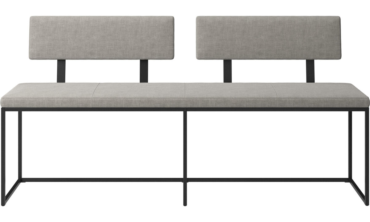 Benches - London large bench with cushion and backrest - Grey - Fabric