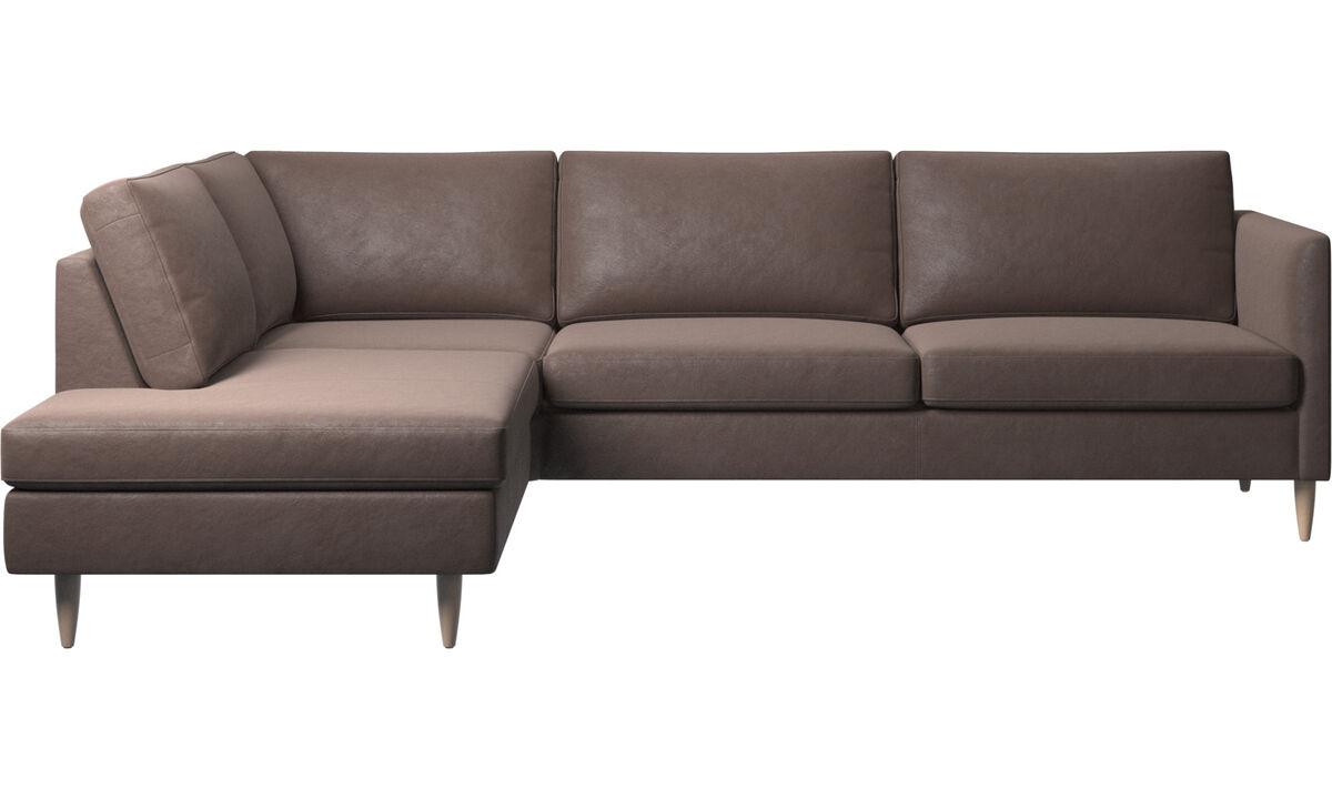 Sofy narożne - Sofa narożna Indivi z modułem wypoczynkowym - Brązowy - Skóra