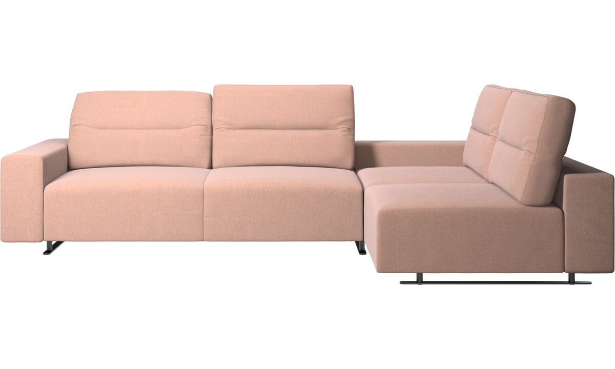 Corner sofas - Hampton corner sofa with adjustable back and storage on left side - Red - Fabric