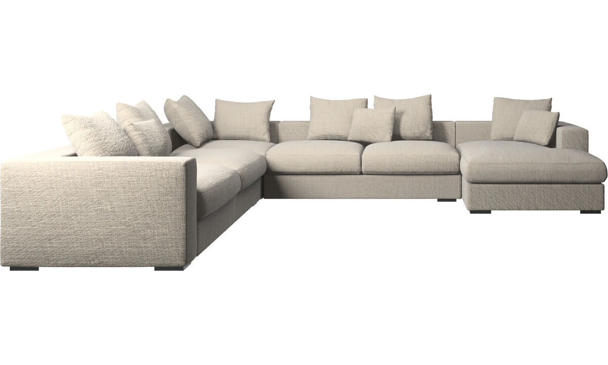 Chaise lounge sofas - Cenova corner sofa with resting unit - Beige - Fabric