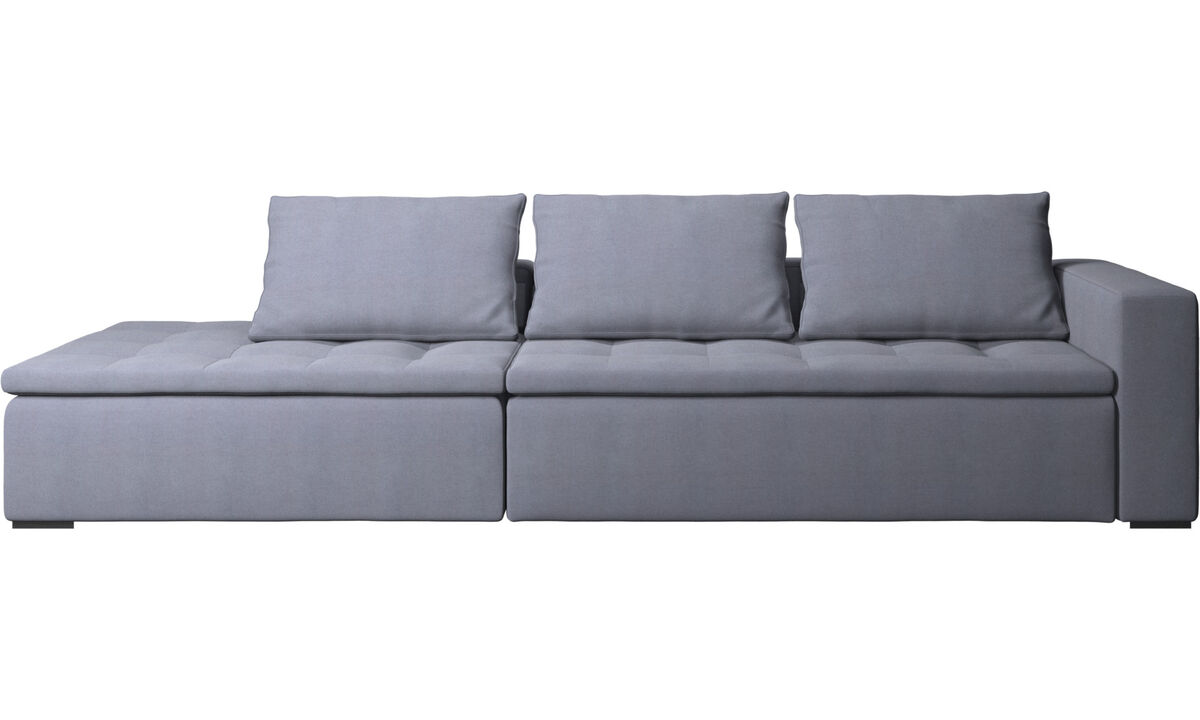 Sofas with open end - Mezzo sofa with lounging unit - Blue - Fabric