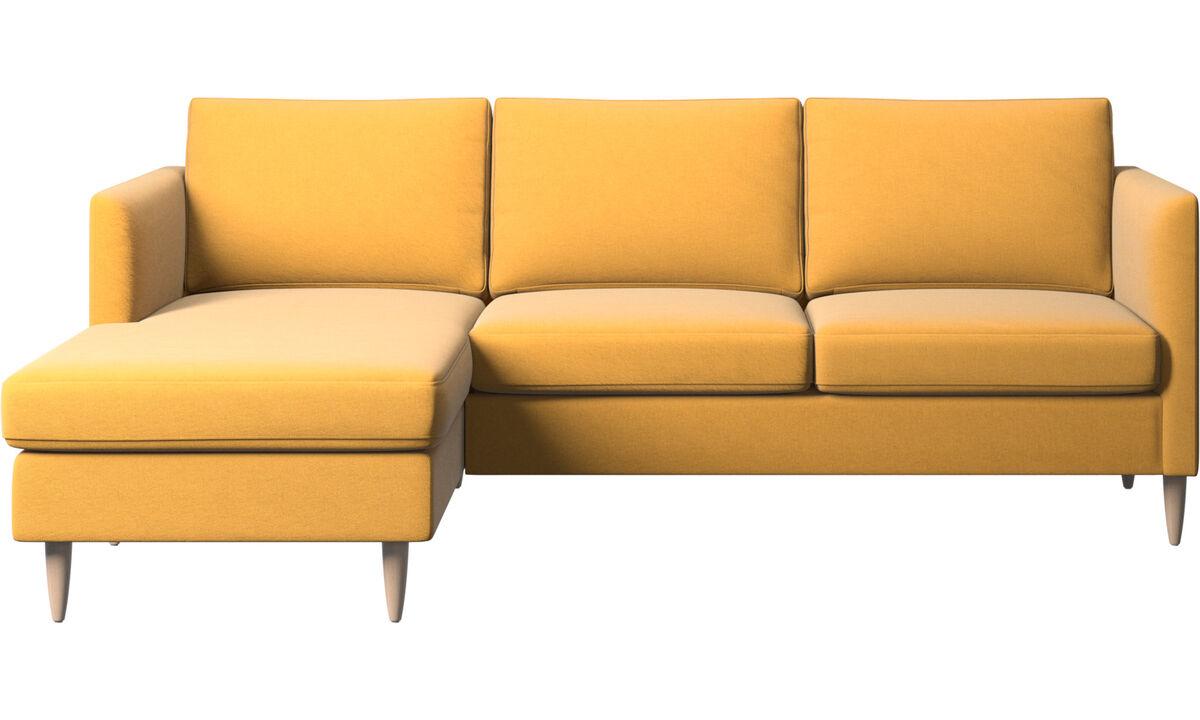 Sofás con chaise longue - sofá Indivi con módulo chaise-longue - En amarillo - Tela