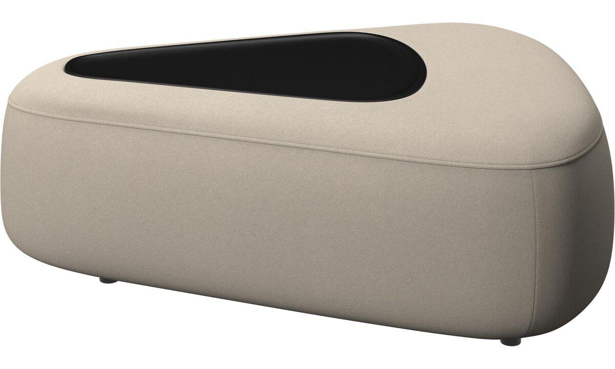 Modulære sofaer - Ottawa trekantet puf med bakke - Beige - Stof