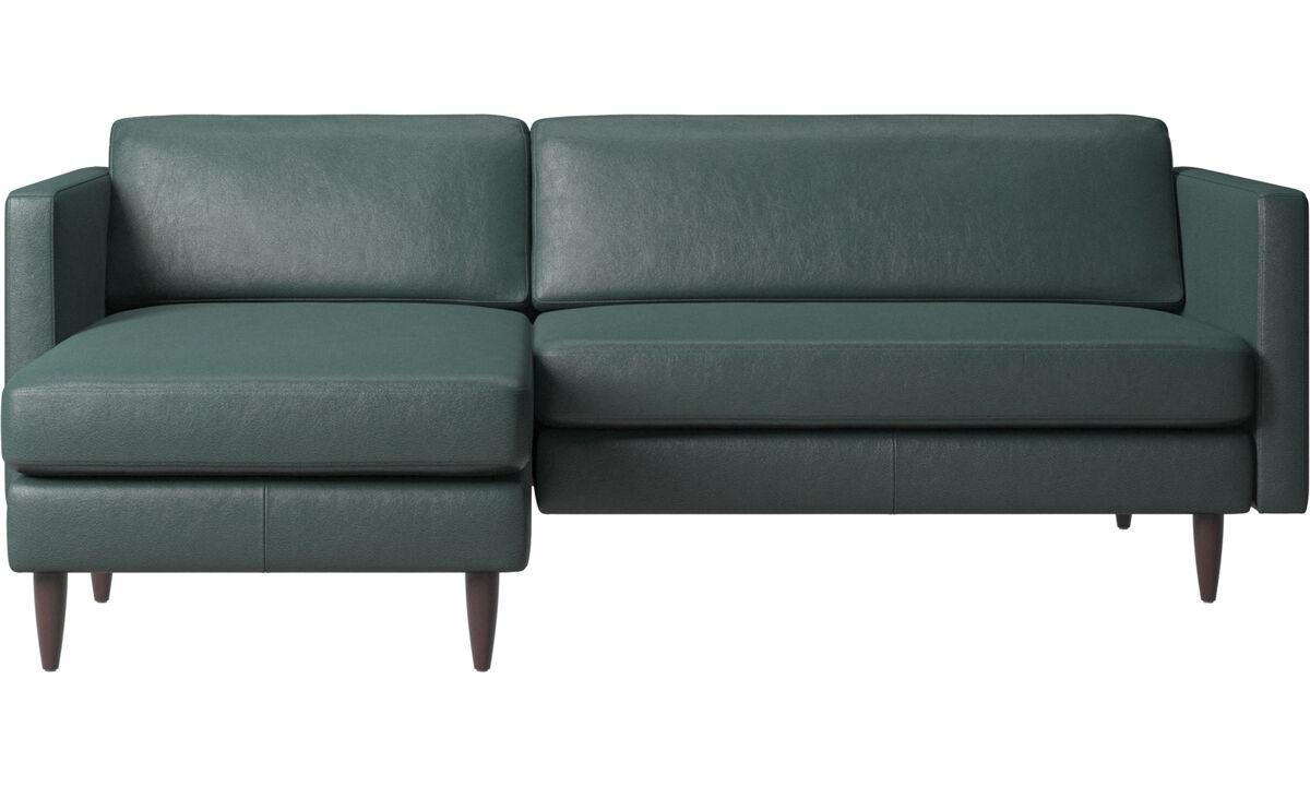 Sofás con chaise longue - sofá Osaka con módulo chaise-longue, asiento regular - En verde - Tela