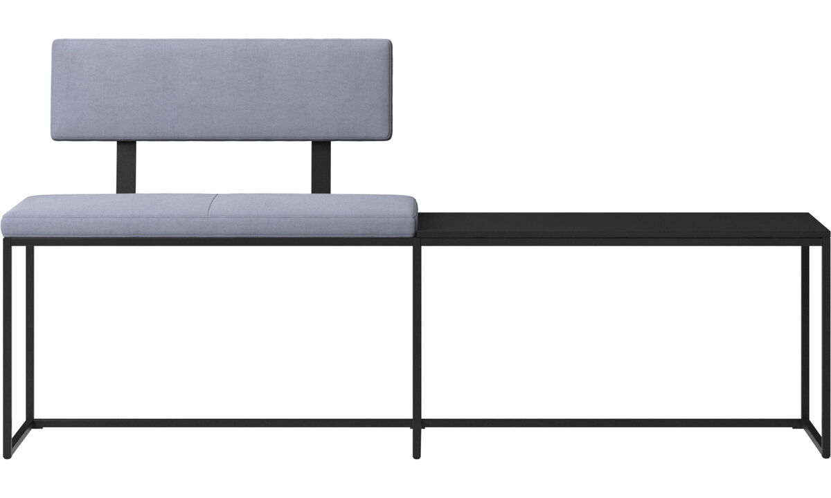 Benches - London large bench with cushion, shelf and backrest - Blue - Fabric