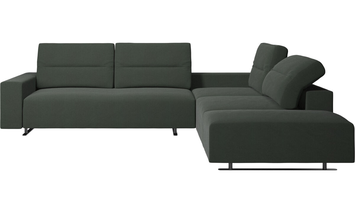 Corner sofas - Hampton corner sofa with adjustable back and lounging unit - Green - Fabric