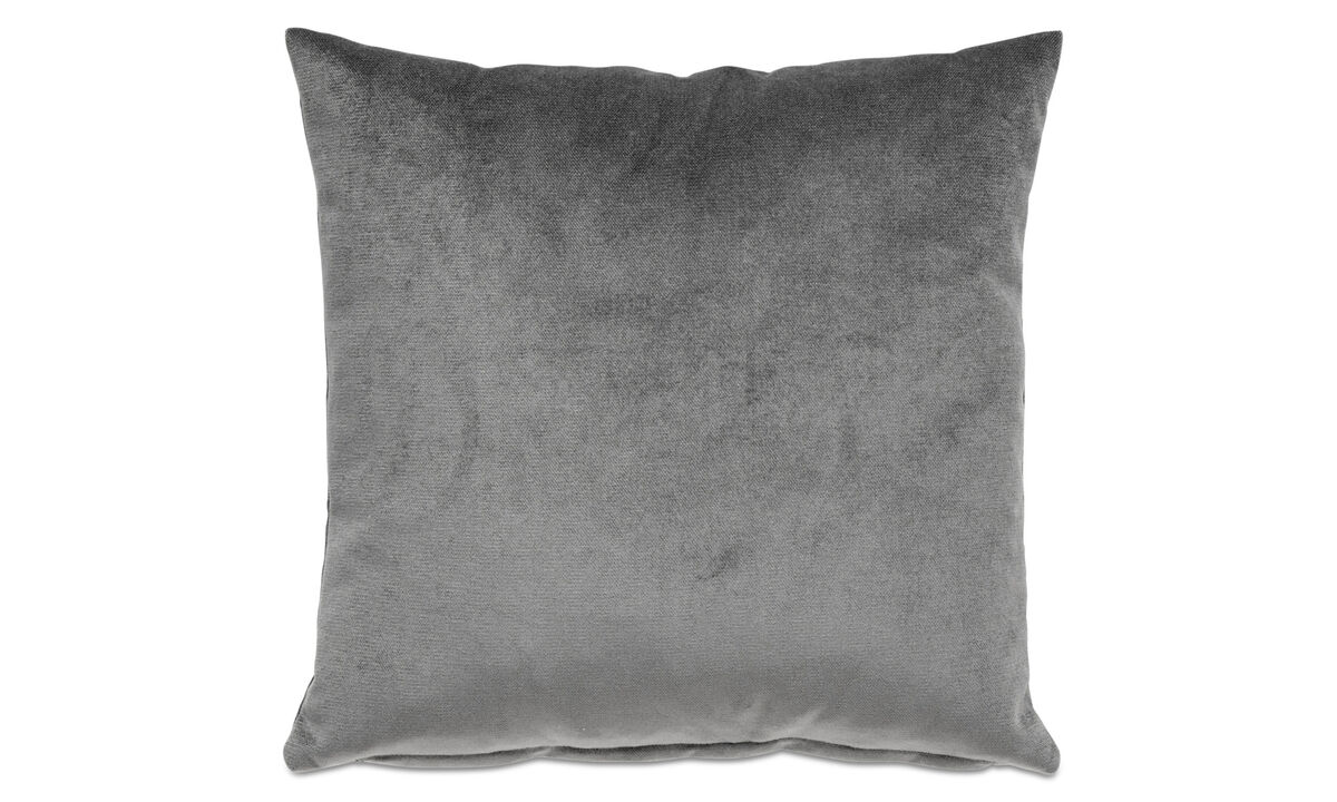 Velvet cushions - Velvet plain cushion - Grey - Fabric