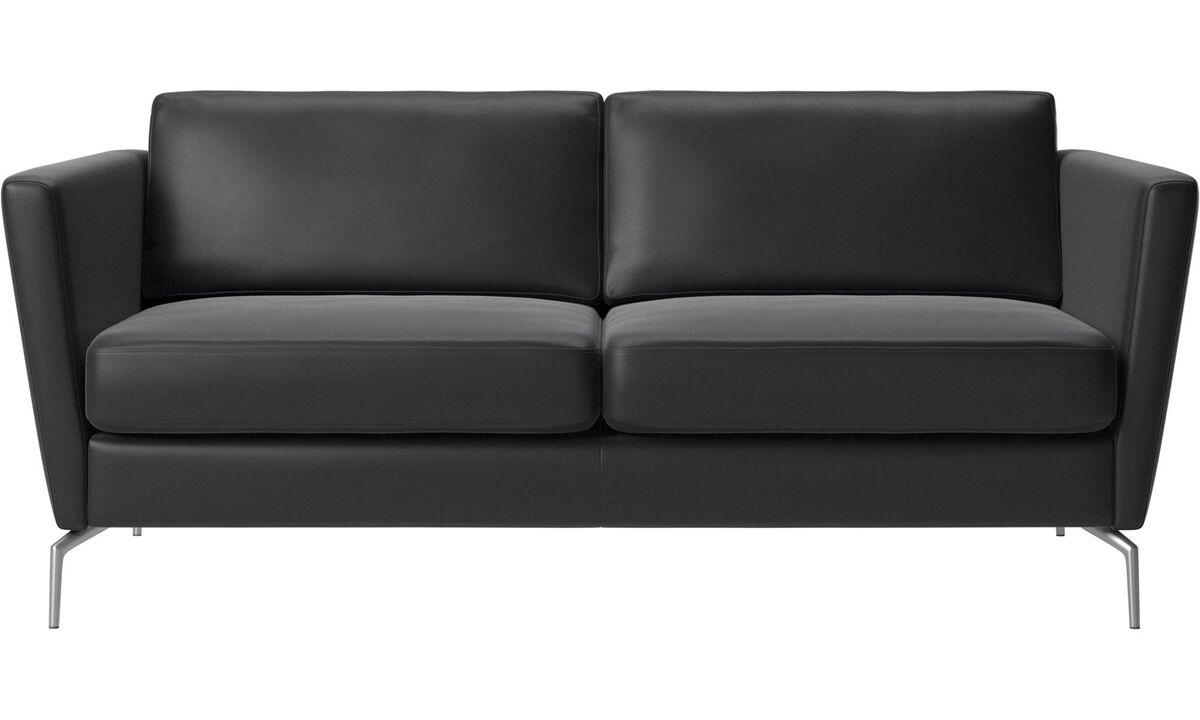 2 seater sofas - Osaka sofa, regular seat - Black - Leather
