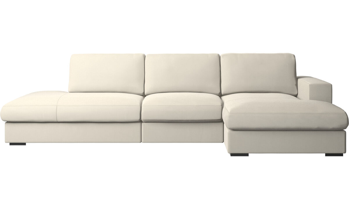 3-sitzer Sofas - Cenova Sofa mit Lounge- und Ruhemodul - Weiß - Stoff
