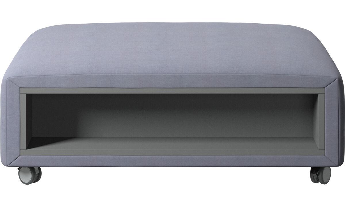 软垫凳 - Hampton 坐墩带滚轮及左右边储物 - 蓝色 - 布艺