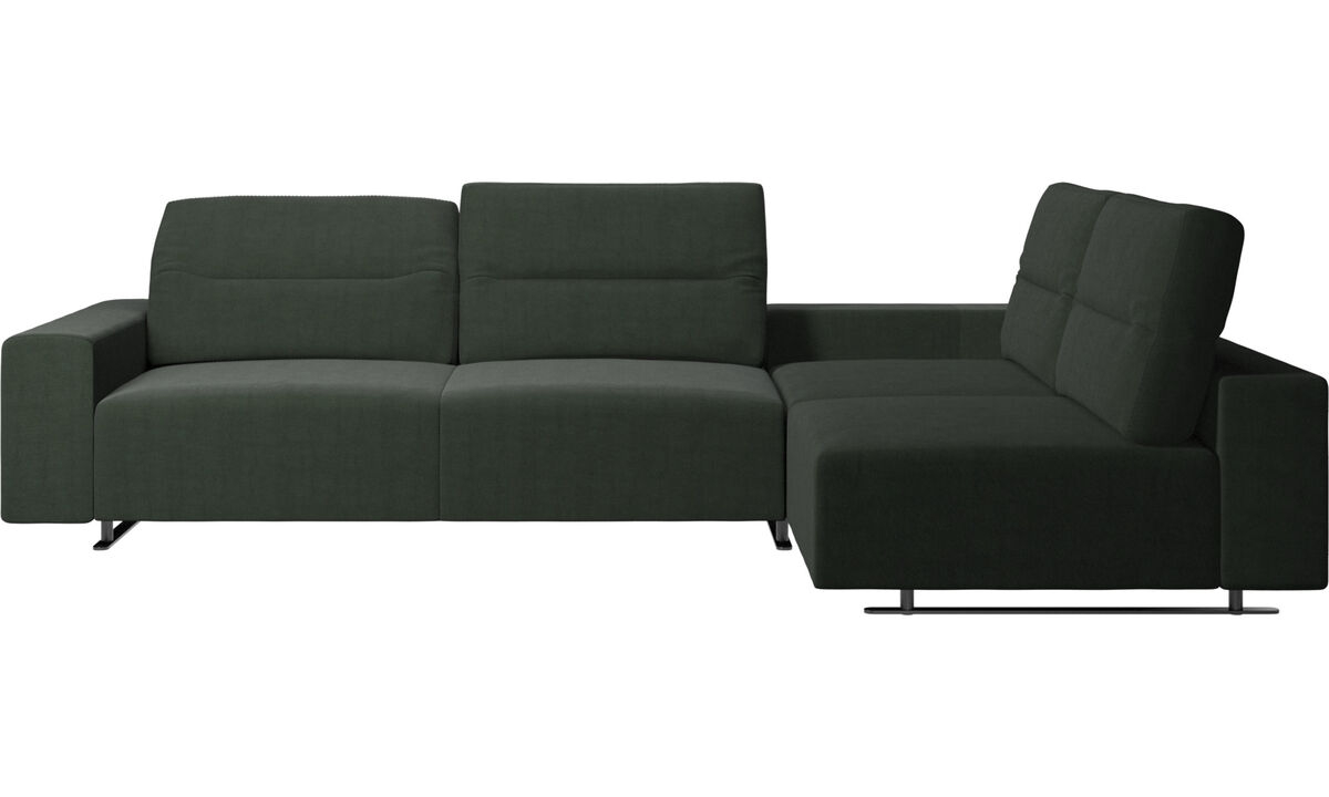 Corner sofas - Hampton corner sofa with adjustable back and storage on left side - Green - Fabric