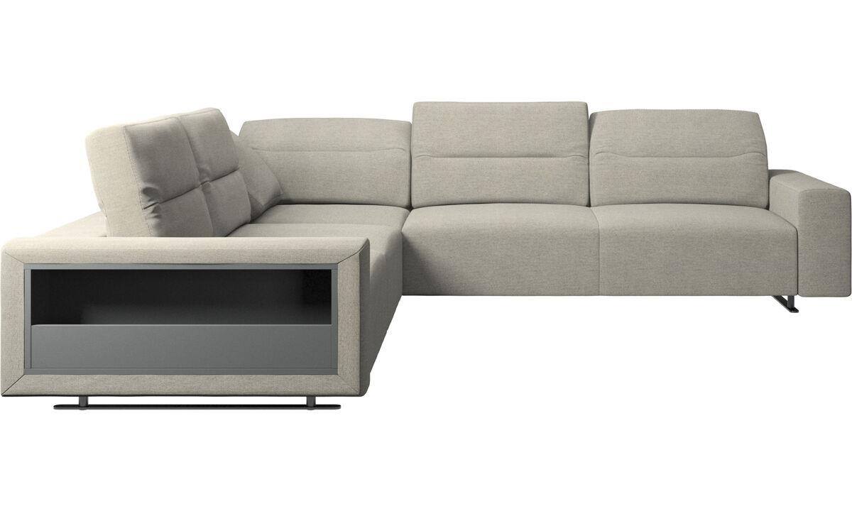 Угловые диваны - Угловой диван Hampton с регулируемой спинкой и системой хранения - Бежевого цвета - Tкань