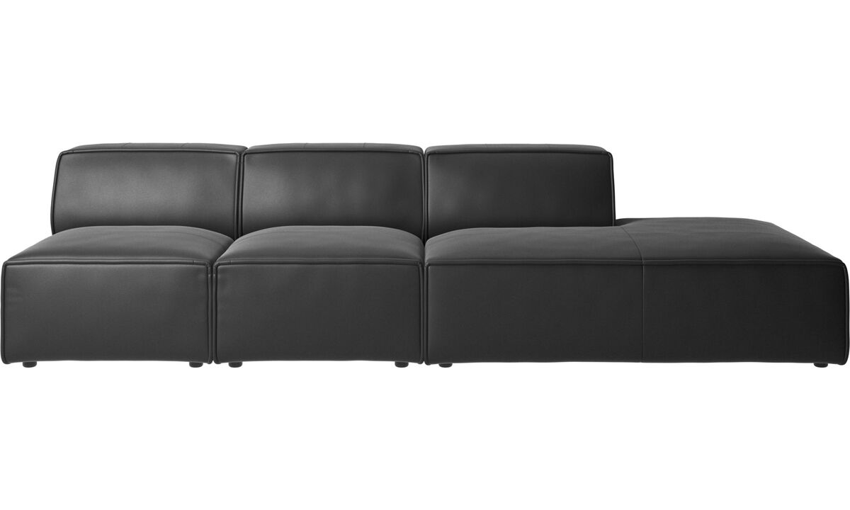 Modular sofas - Carmo sofa with lounging unit - Black - Leather