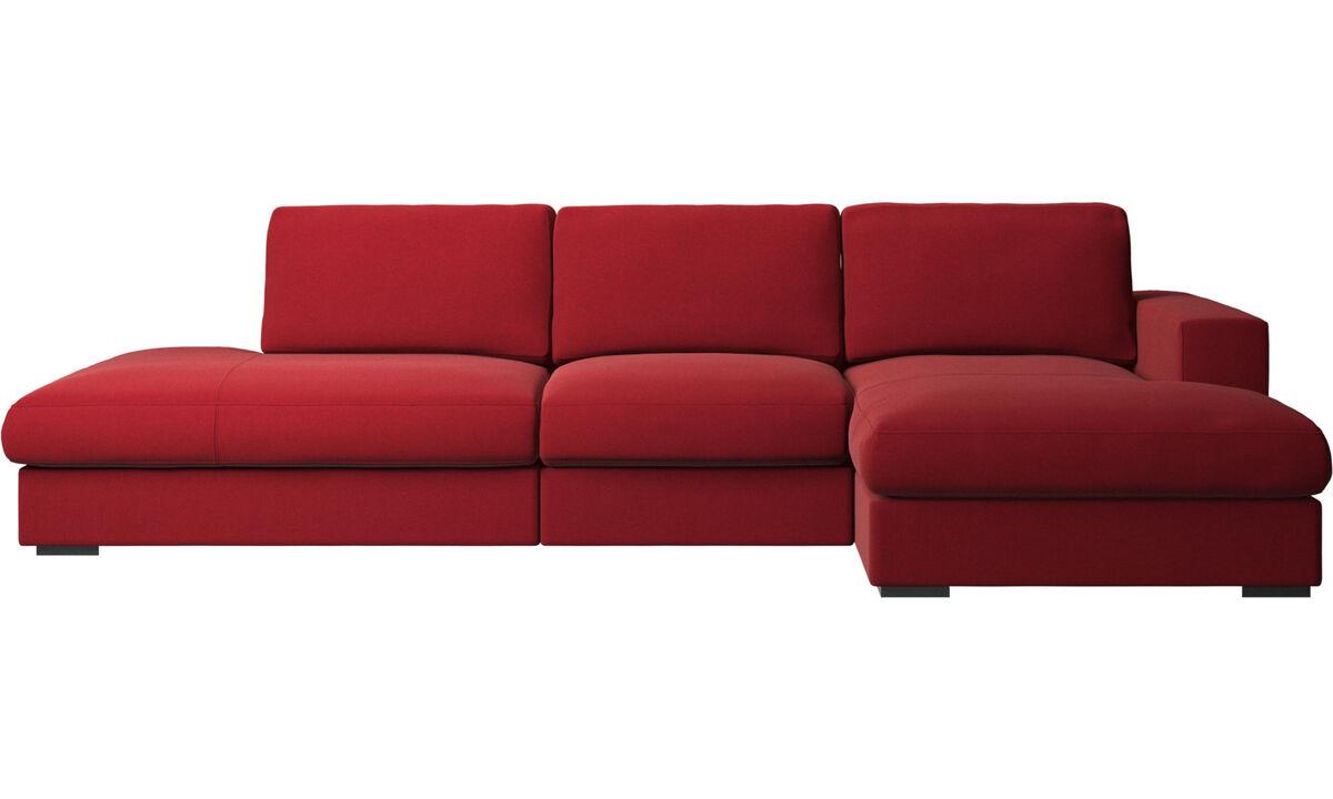 Sofás com canto aberto - Sofá Cenova chaise-longue - Vermelho - Tecido
