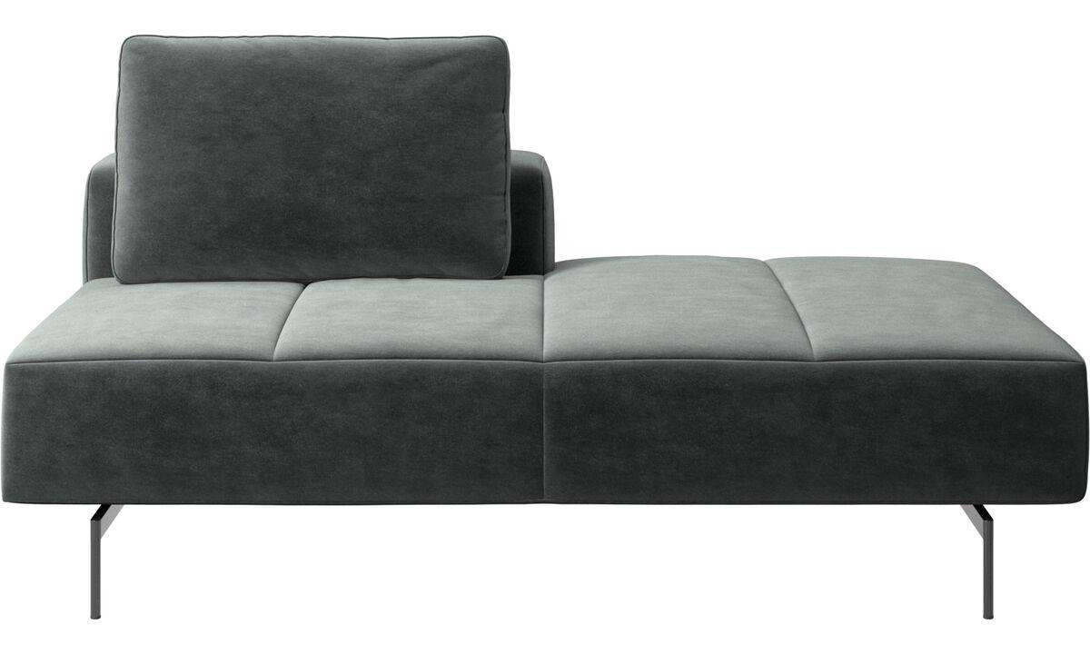 Sofás con lado abierto - Módulo lounge para sofá Amsterdam, respaldar izquierdo, lado derecho abierto - En verde - Tela