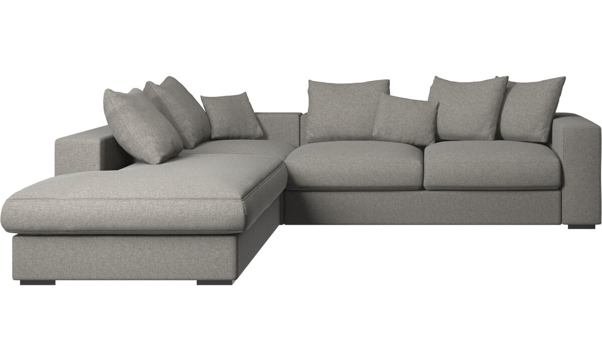 Sofas with open end - Cenova sofa with lounging unit - Black - Fabric