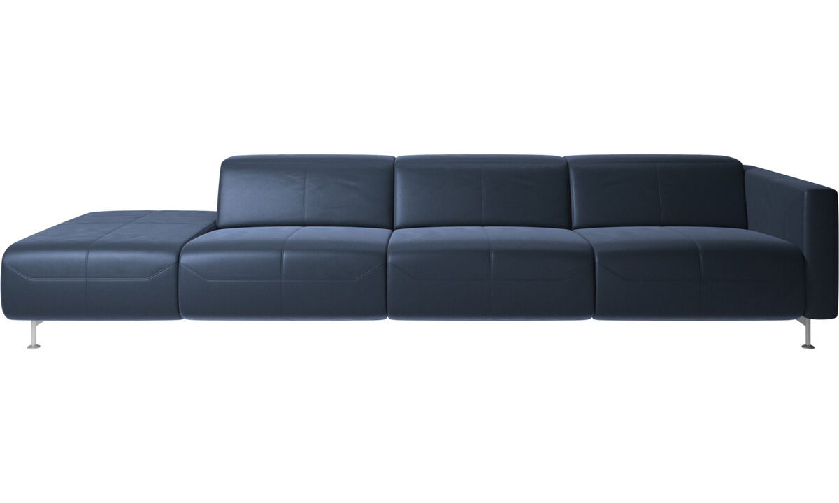 Sofas with open end - Parma reclining sofa with open end - Blue - Leather