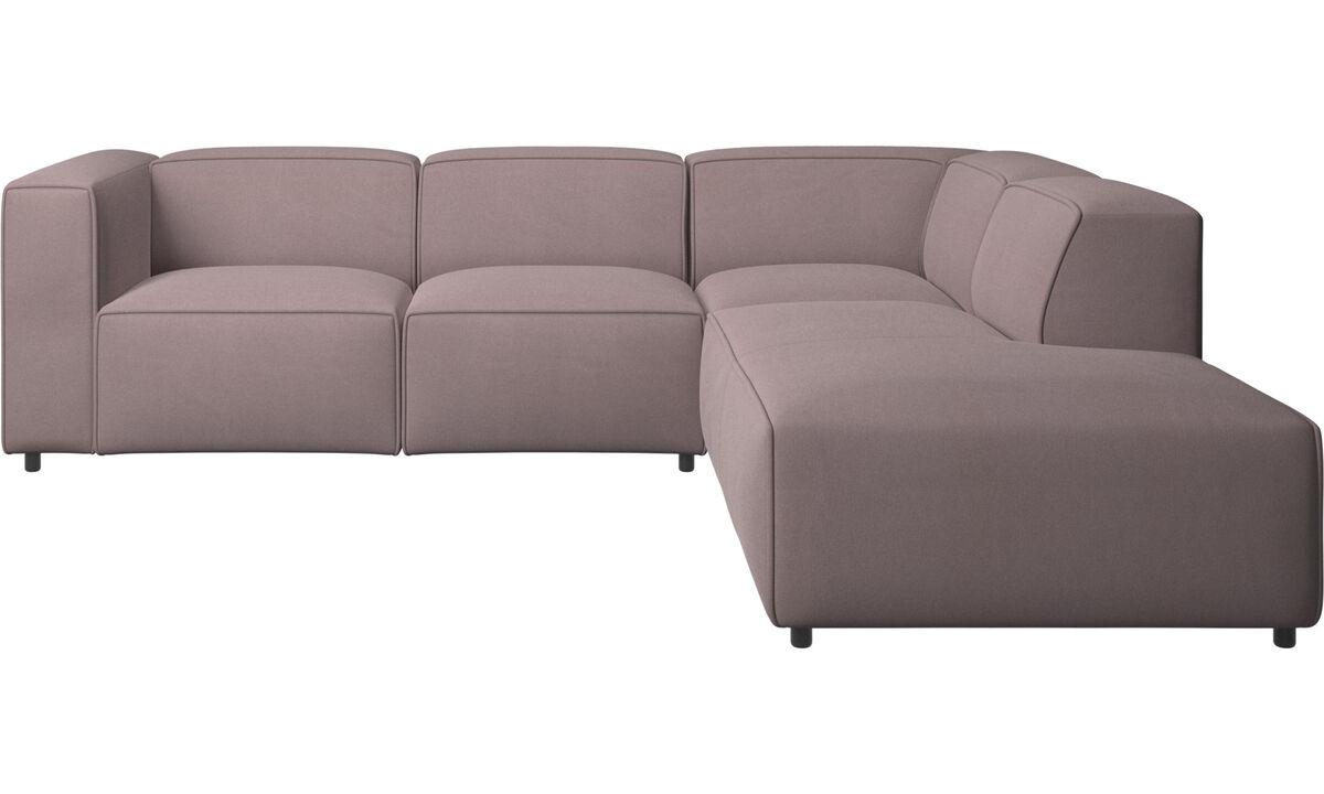Sofás reclinables - Sofá esquinero Carmo con movimiento - Morado - Tela