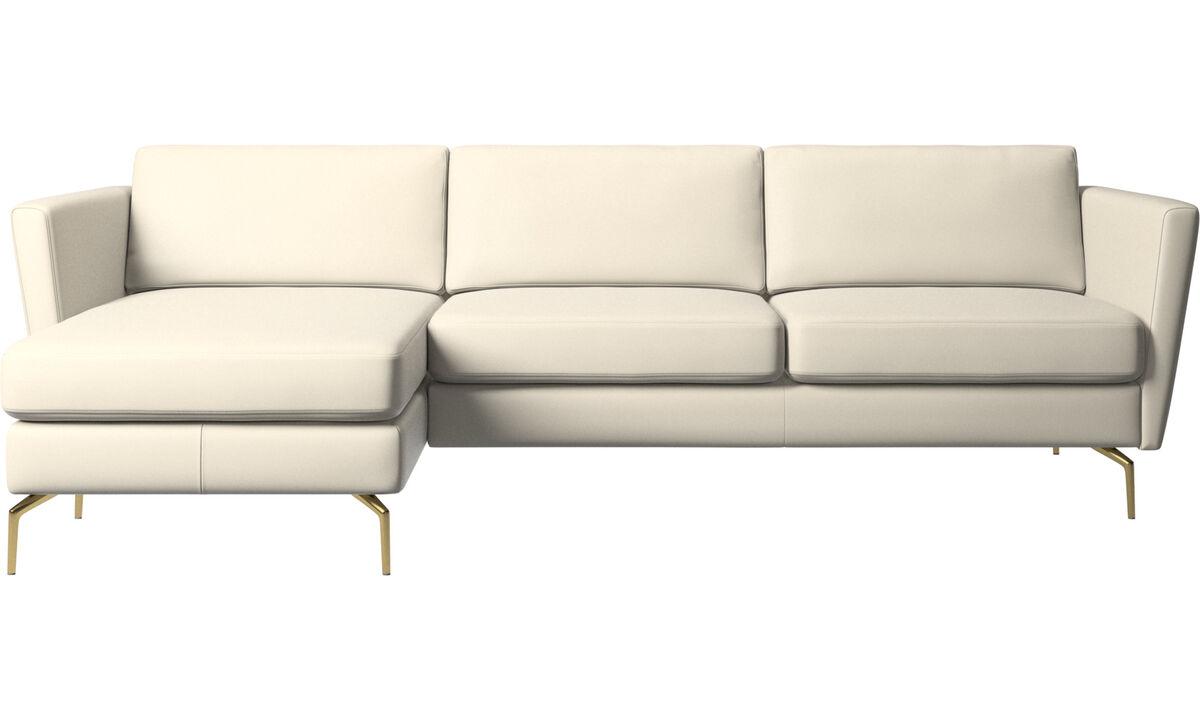 Chaise lounge sofas - Osaka sofa with resting unit, regular seat - White - Leather