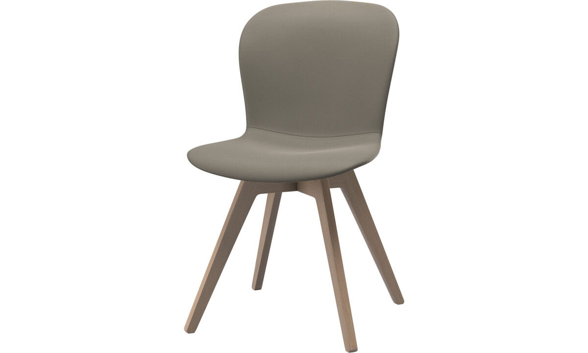 Sillas de comedor - silla Adelaide - En gris - Piel