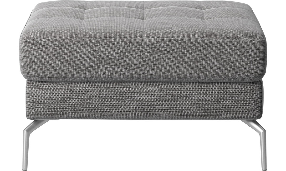 Footstools - Osaka footstool, tufted seat - Grey - Fabric