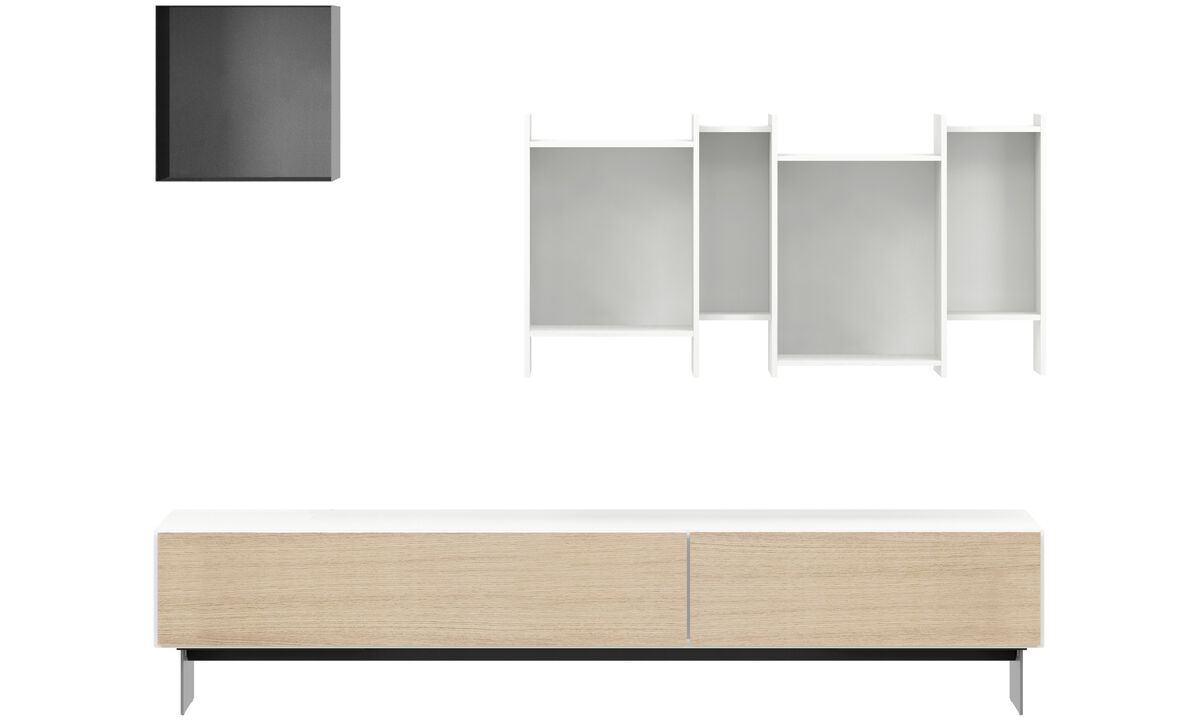 Wall systems - Lugano wall system with drawers - White