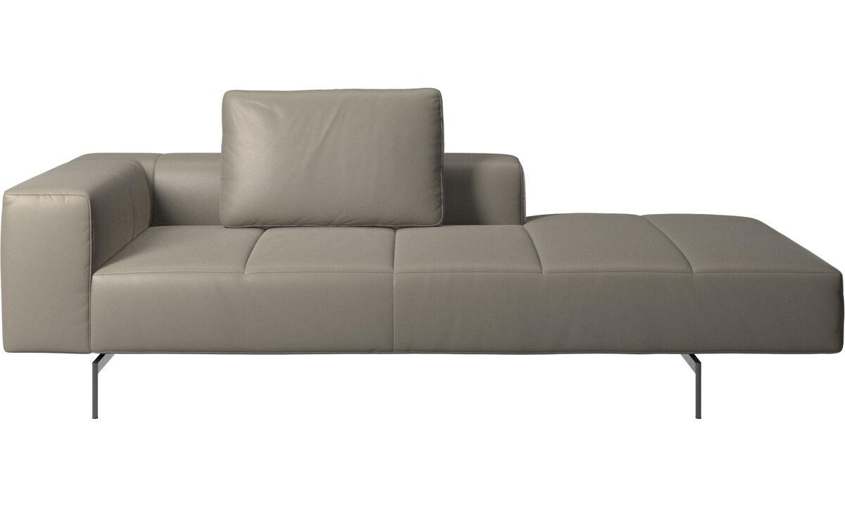 Sofás modulares - Módulo lounge para sofá Amsterdam, reposabrazos izquierdo, lado derecho abierto - En gris - Piel