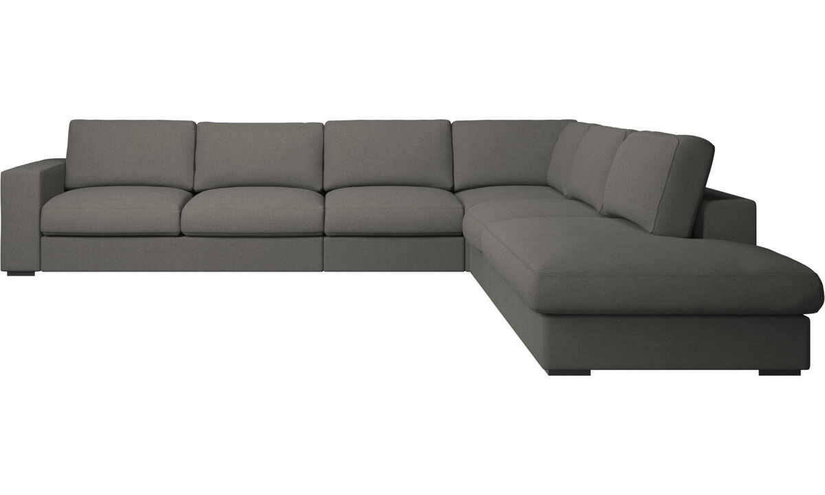 Corner sofas - Cenova corner sofa with lounging unit - Gray - Fabric