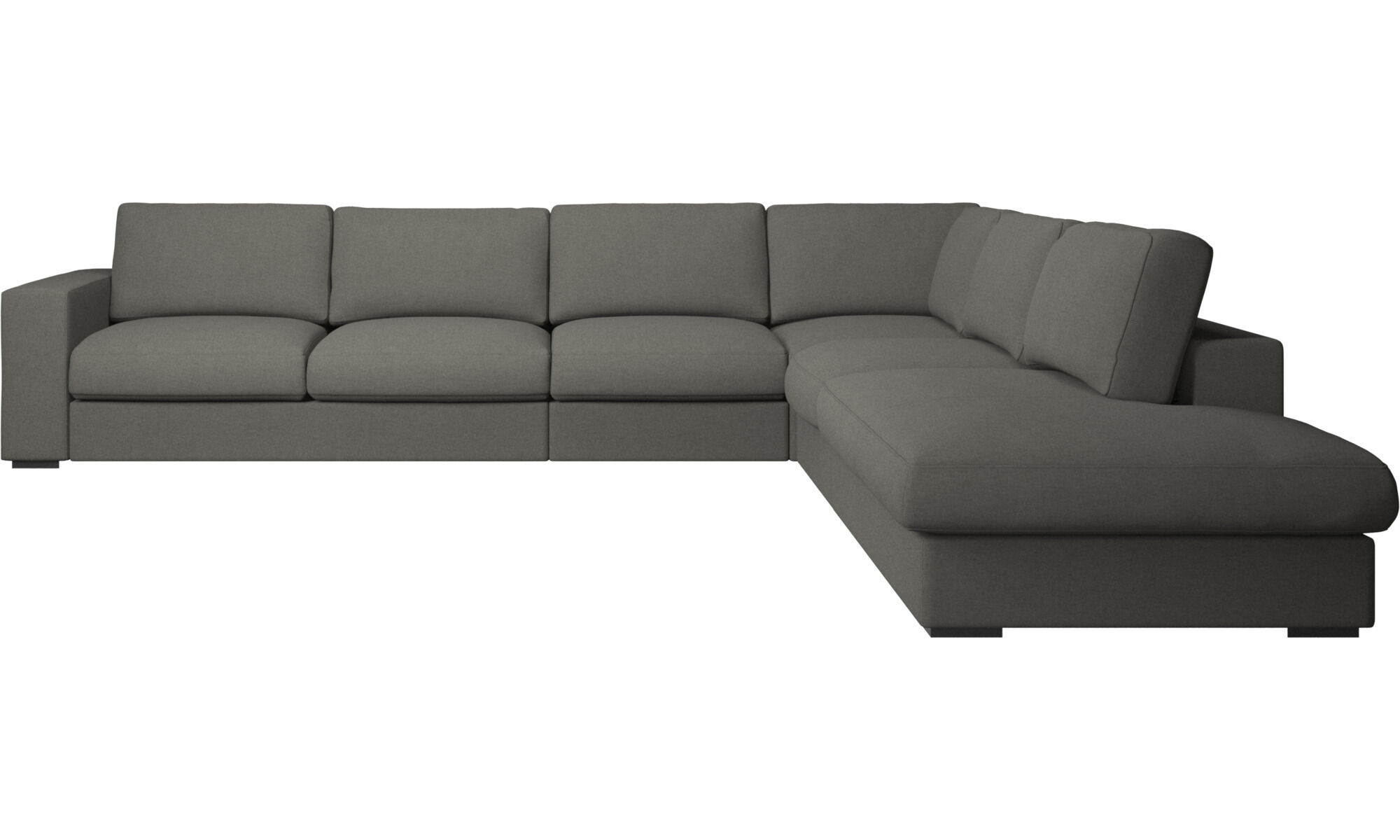 Beau Sofas With Open End   Cenova Corner Sofa With Lounging Unit   Gray   Fabric  ...