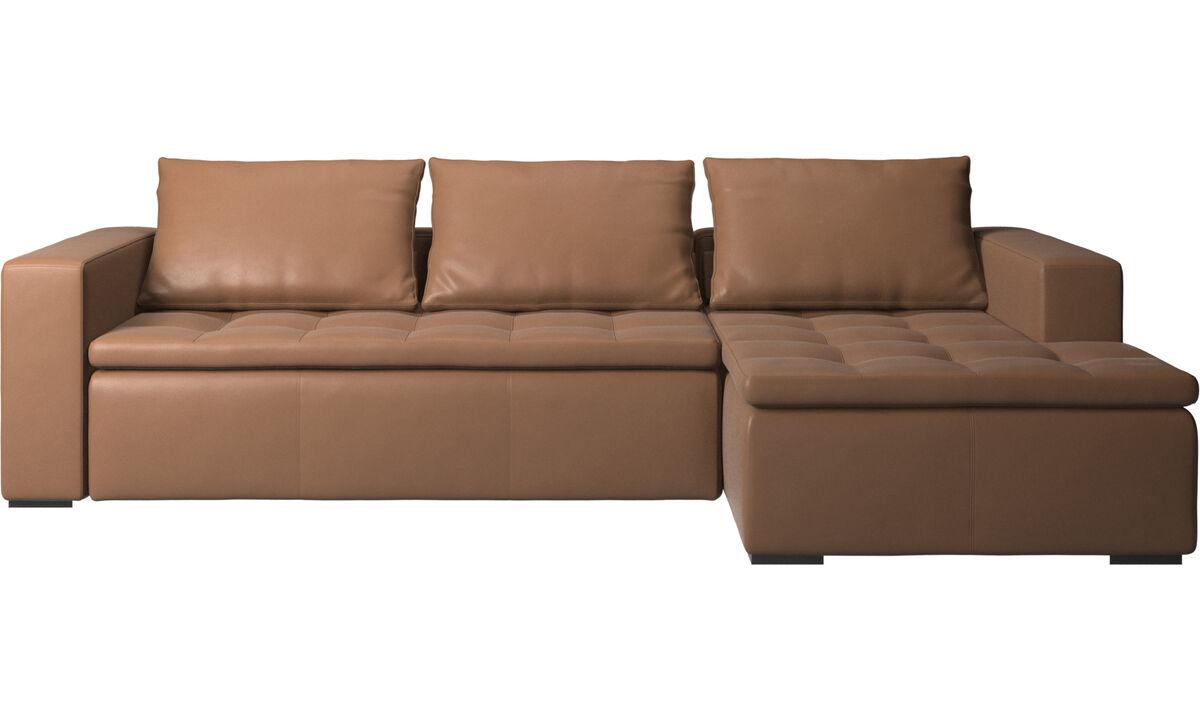 Sofás con chaise longue - sofá Mezzo con módulo chaise-longue - En marrón - Piel