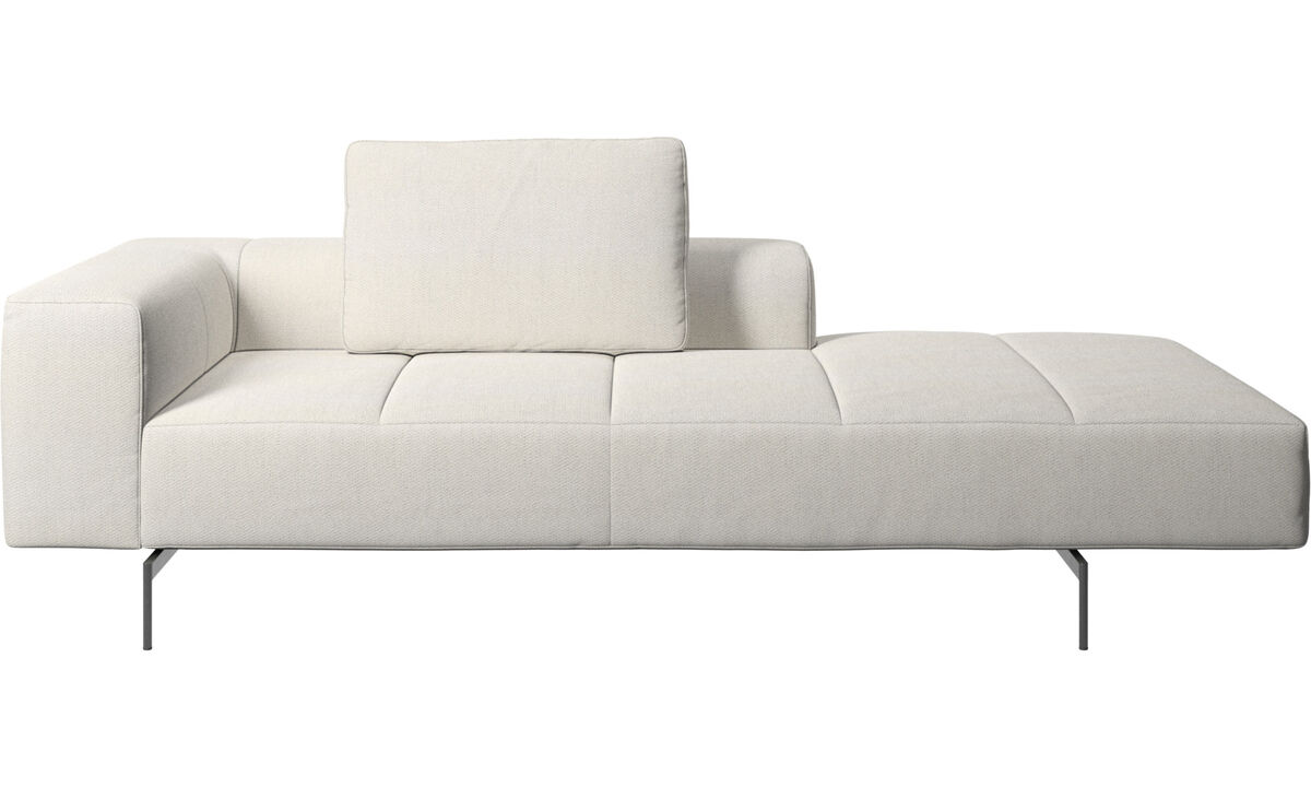 Modular sofas - Amsterdam Iounging module for sofa, armrest left, open end right - White - Fabric