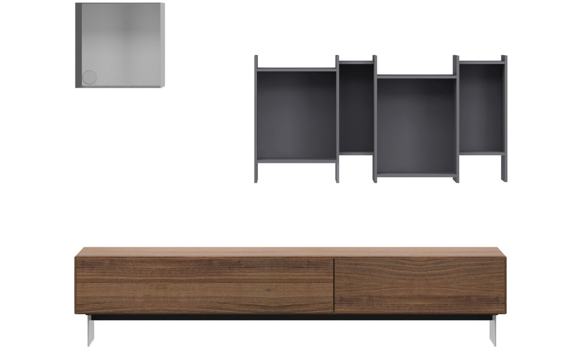 Wall Units - Lugano wall system with drawers - Grey - Walnut